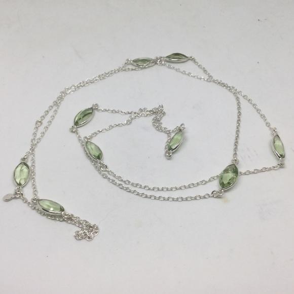 "Handmade Jewelry - Long Green Amethyst Silver Necklace 32""-36"""